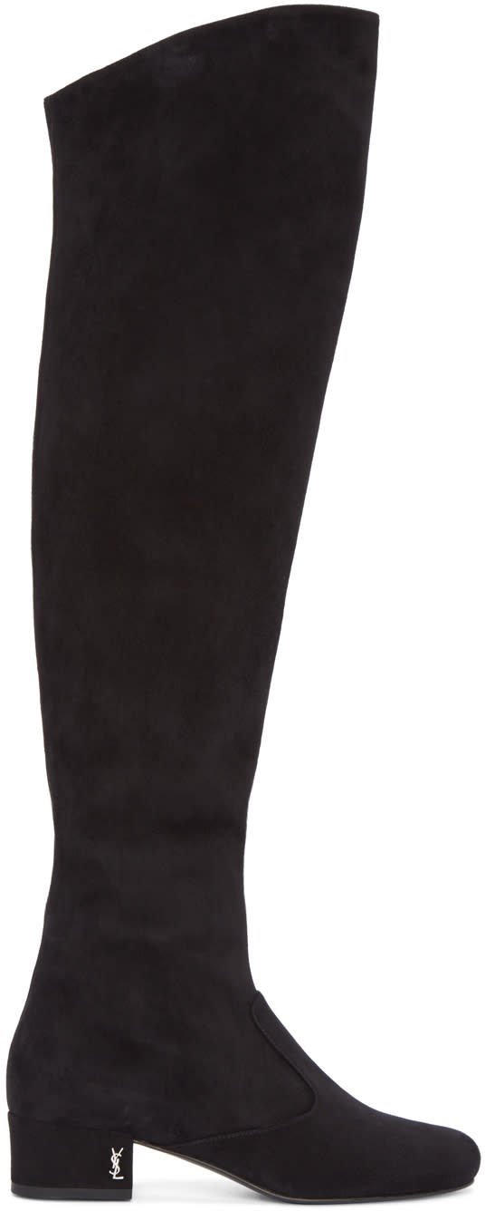 Saint Laurent Black Suede Tall Boots