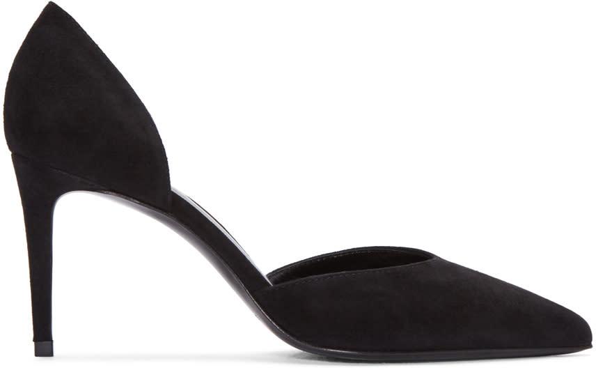 Saint Laurent Black Suede Paris Skinny Dorsay Heels