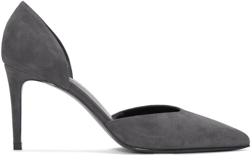 Saint Laurent Grey Suede Paris Skinny Dorsay Heels