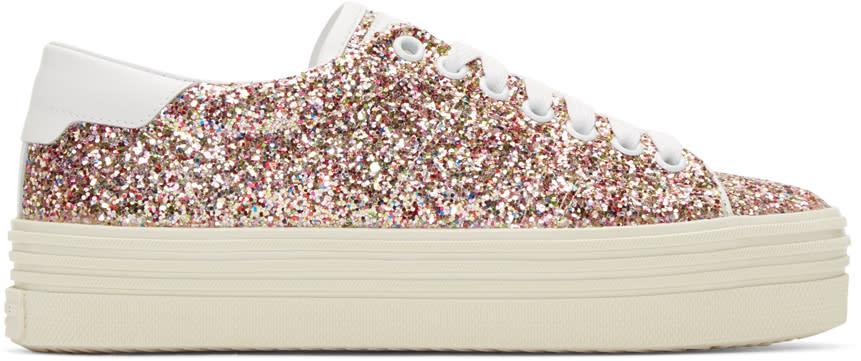 Saint Laurent Multicolor Glitter Platform Court Classic Sneakers