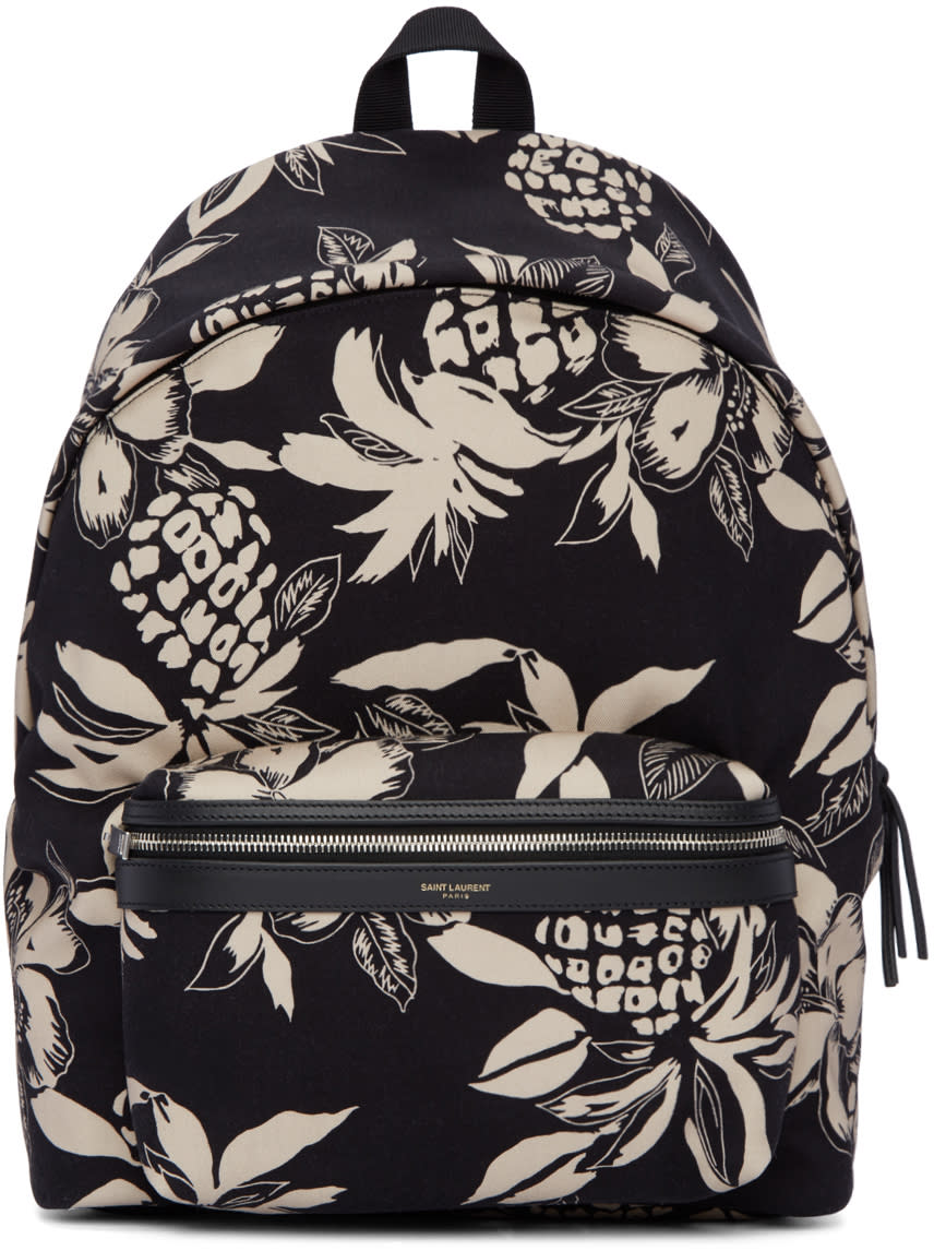 Saint Laurent Black and Off-white Hibiscus City Backpack