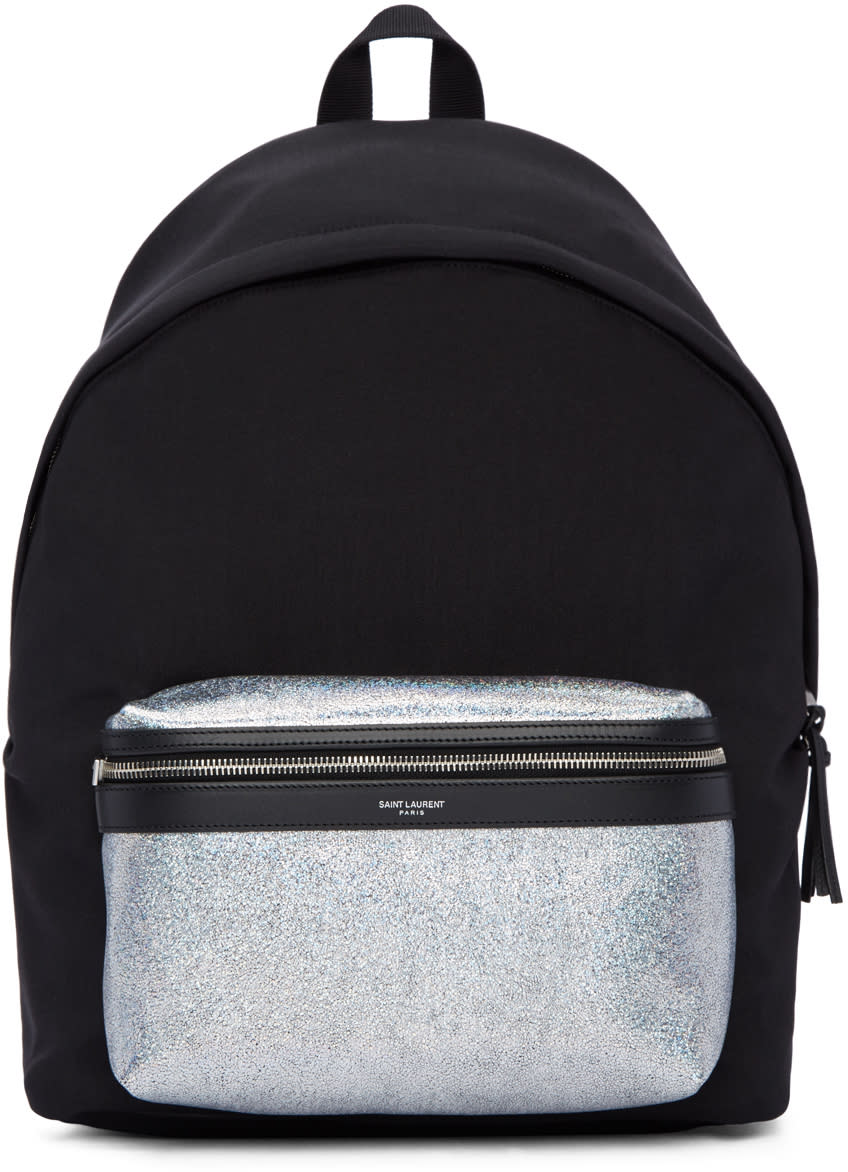 Saint Laurent Black and Silver City Backpack