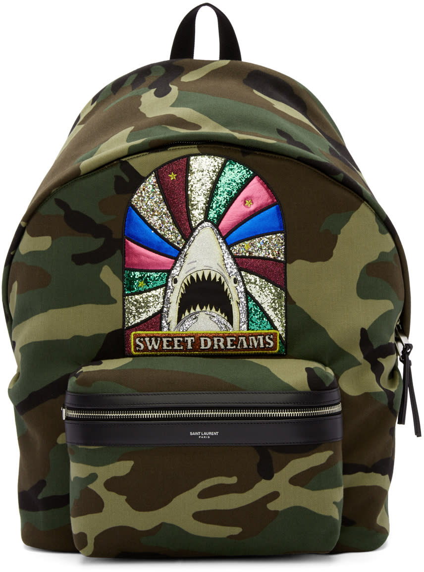 Saint Laurent Green Camouflage Sweet Dreams Giant City Backpack