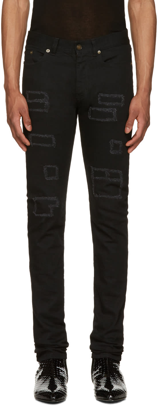 Saint Laurent Black Patched Low-waisted Skinny Jeans