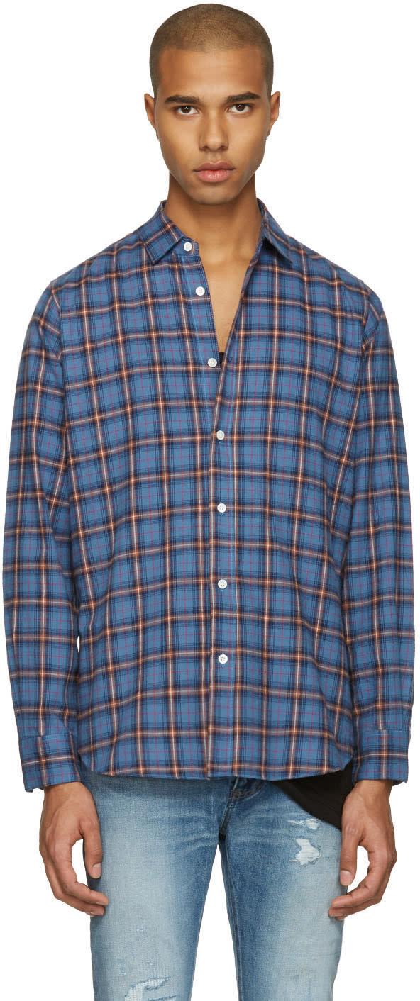Saint Laurent Blue Check Shirt