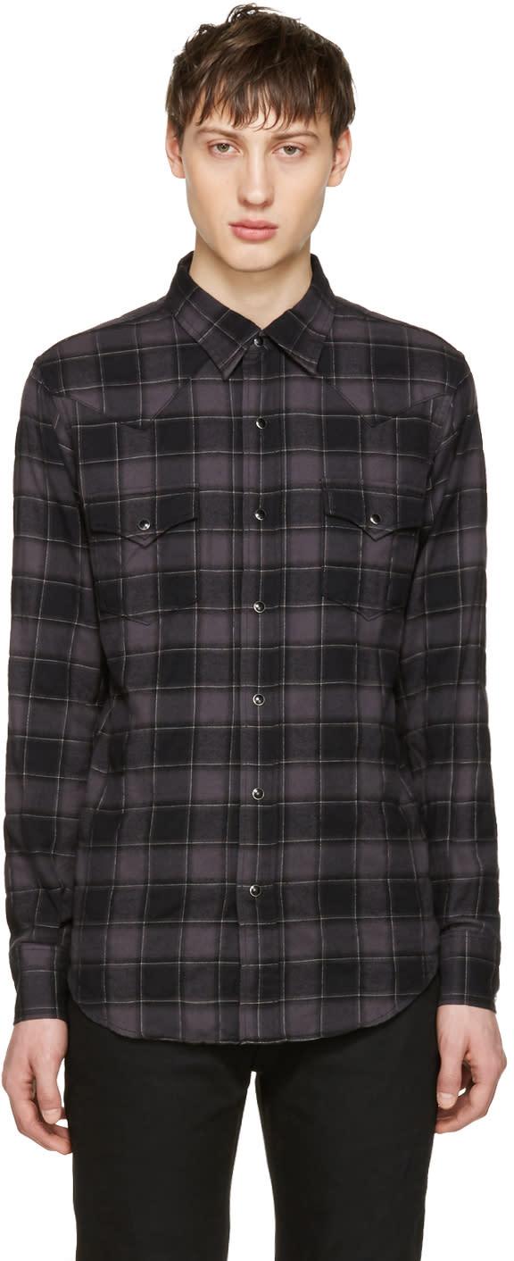 Saint Laurent Black Flannel Check Shirt