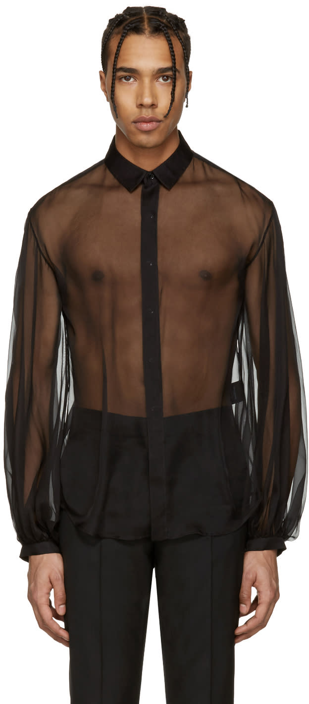 Saint Laurent Black Sheer Shirt