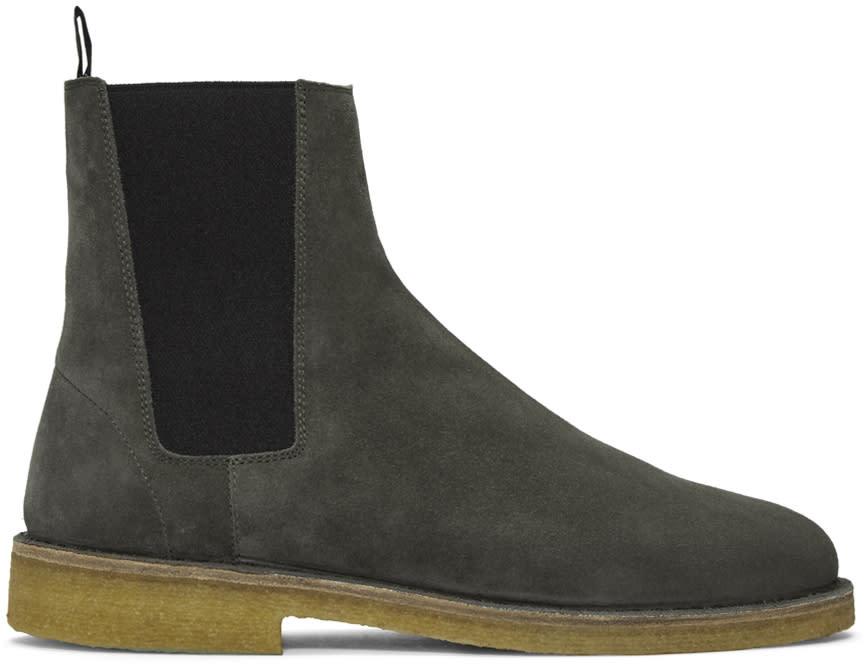 Saint Laurent Grey Suede Nevada Boots