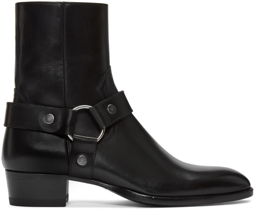 Saint Laurent Black Leather Wyatt Harness Boots