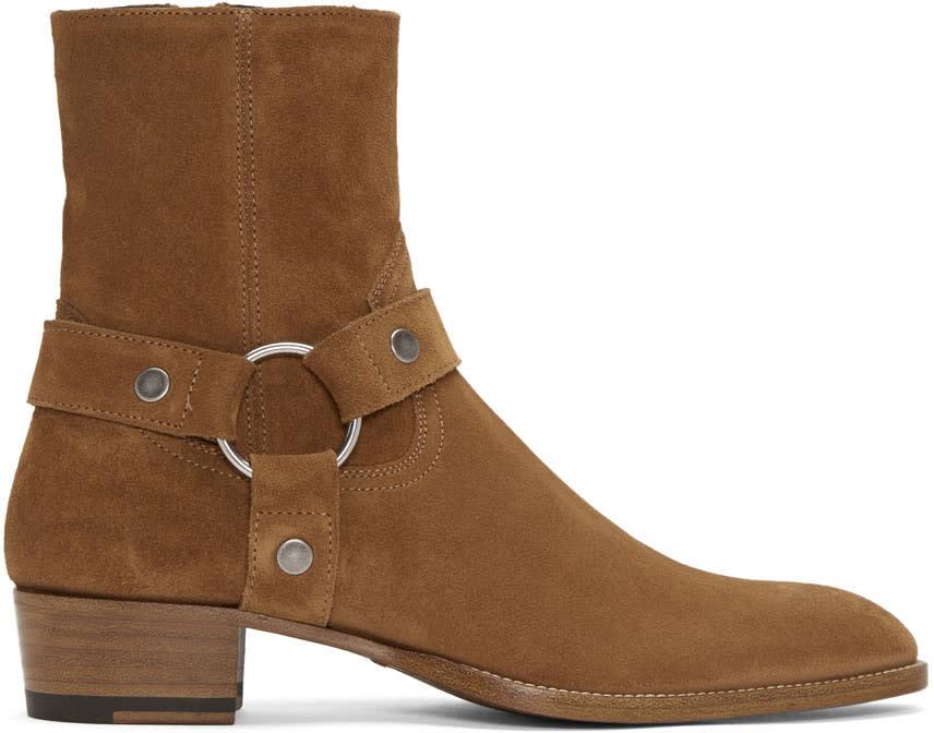 Tan Suede Wyatt Harness Boots