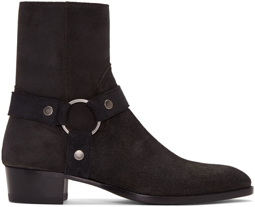 Black Suede Wyatt Harness Boots