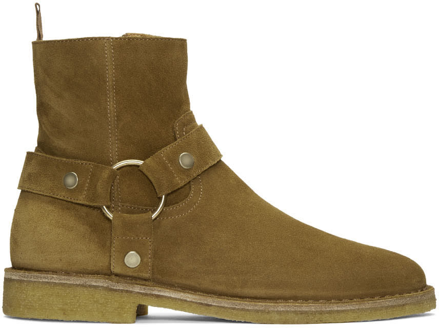 Tan Suede Nevada Harness Boots