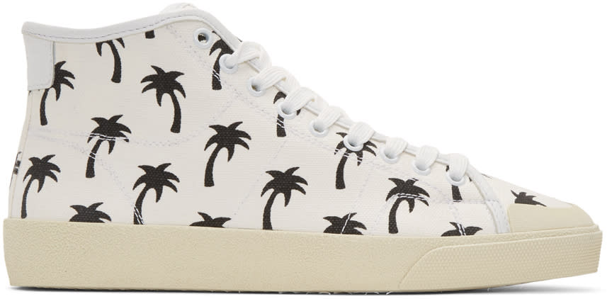 Saint Laurent White Palm Trees Sl-37 Surf Court Classic Mid-top Sneakers