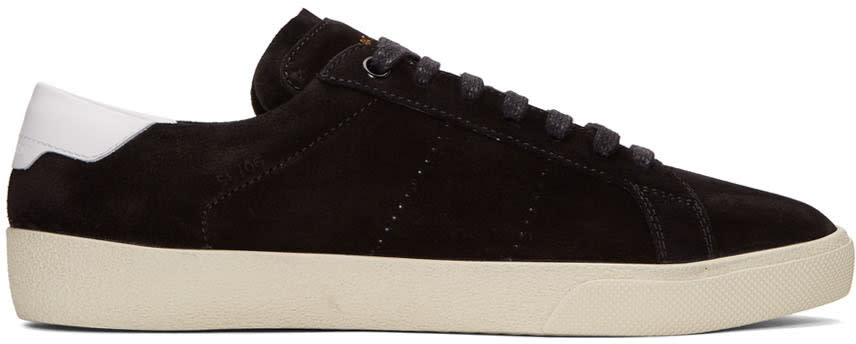 Saint Laurent Black Suede Sl-06 Court Classic Sneakers
