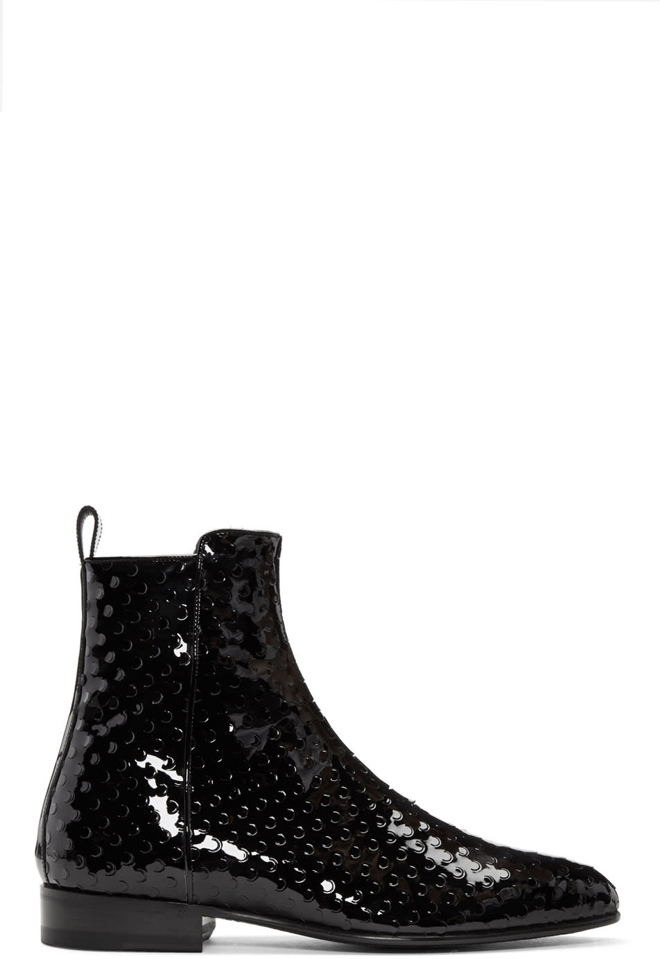 Black Perforated Wyatt Zip Boots