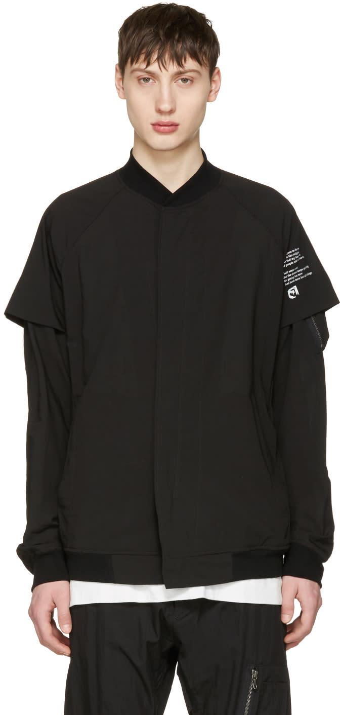 Julius Black Panelled Bomber Jacket