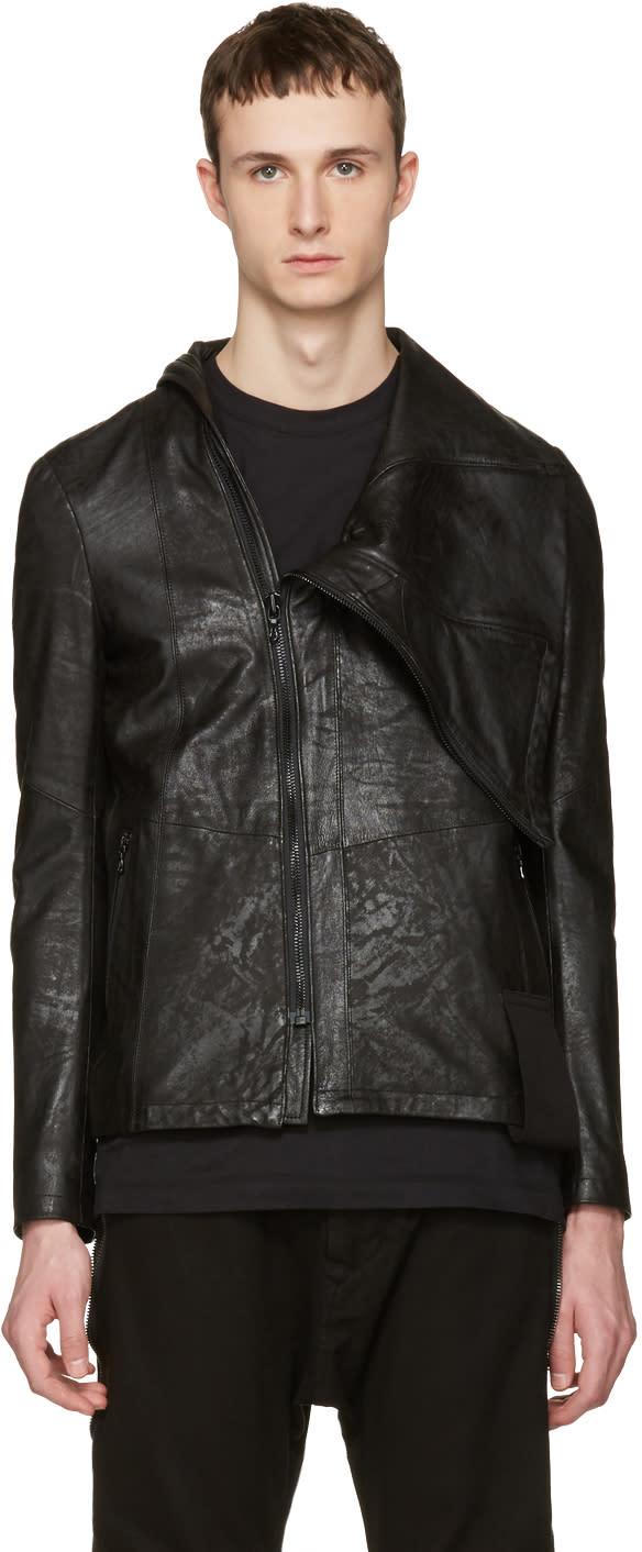 Julius Black Nubuck Slashing High-neck Jacket