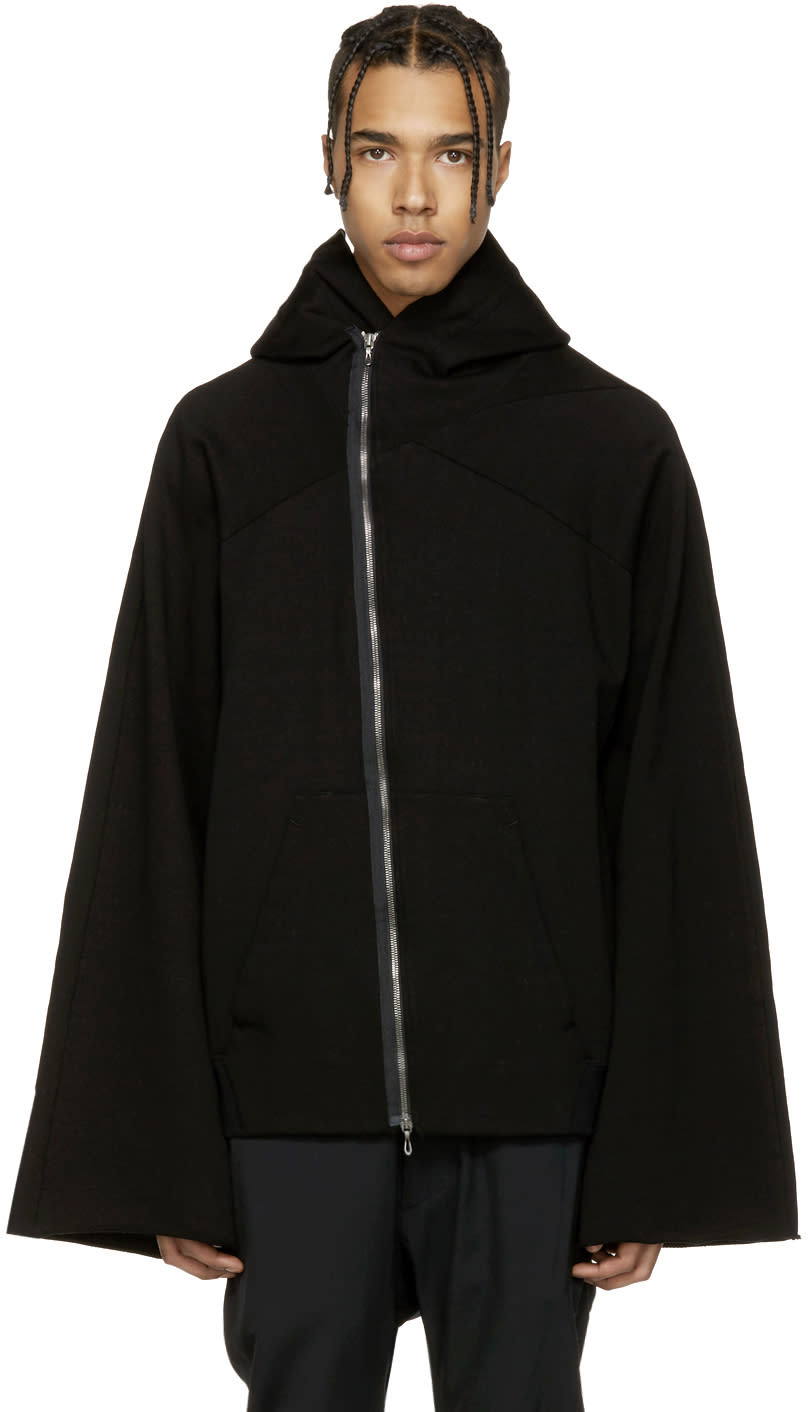 Julius Black Asymmetric Patch Zip-up Hoodie