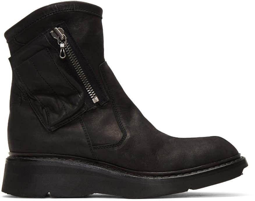 Julius Black Nubuck Zip Boots