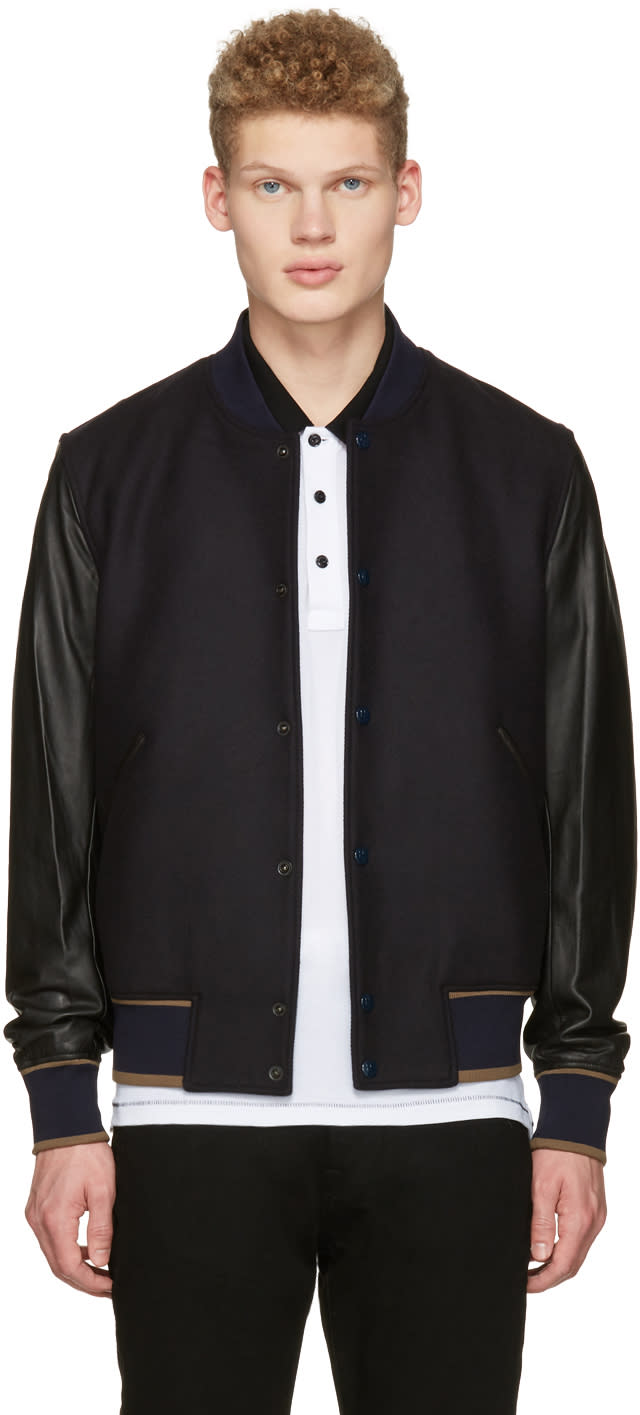 Ps By Paul Smith Navy and Black Varsity Bomber Jacket