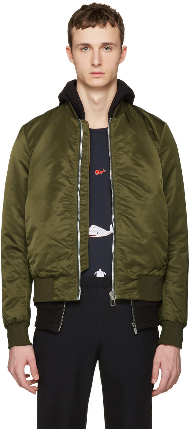 Ps By Paul Smith Green Nylon Bomber Jacket