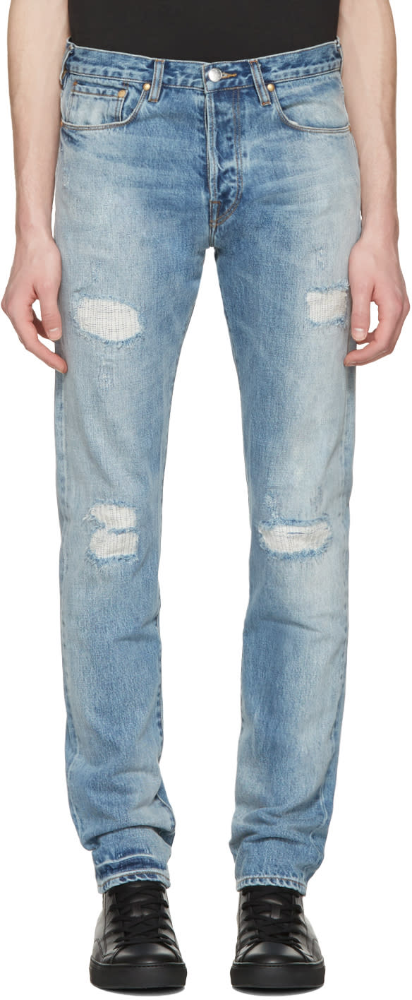 Ps By Paul Smith Blue Ripped Slim Jeans