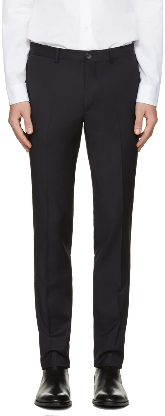 Ps By Paul Smith Navy Wool Trousers
