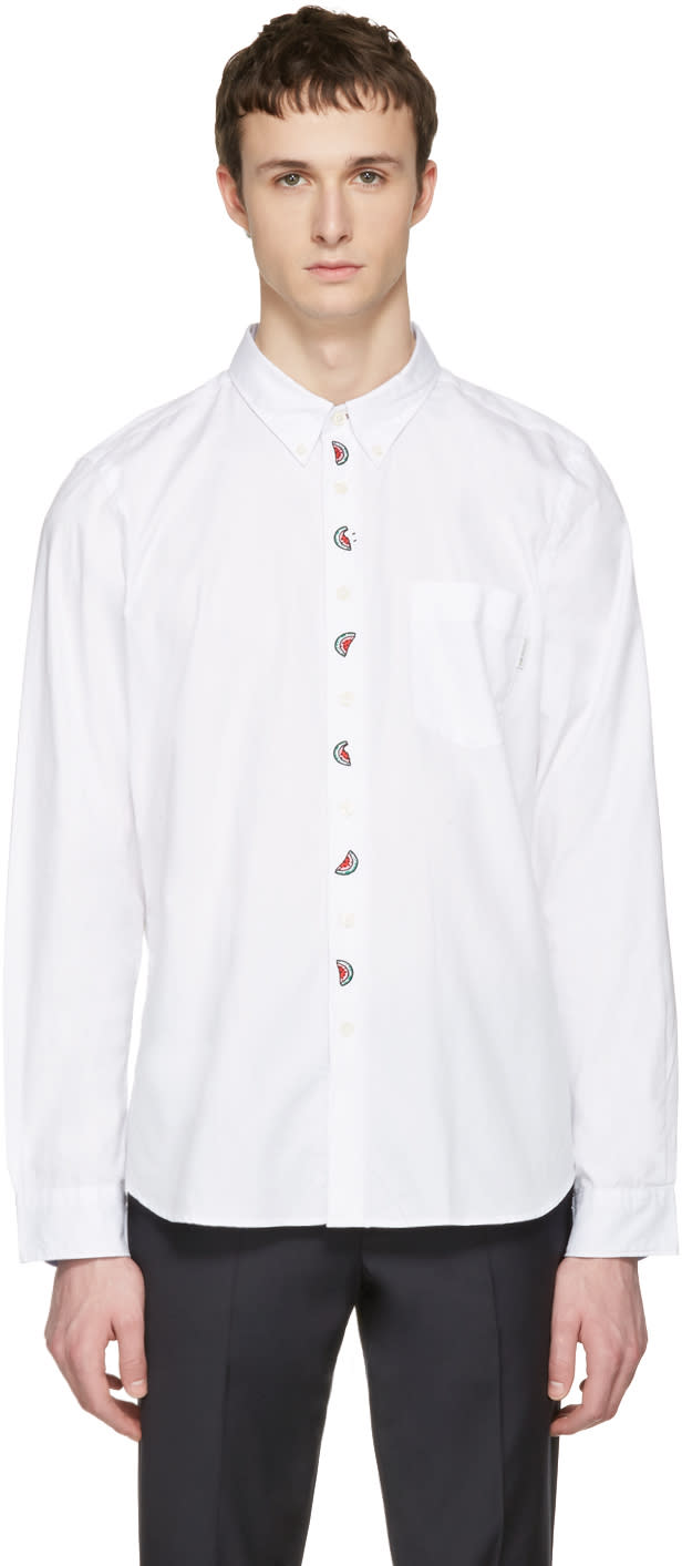 Ps By Paul Smith White Embroidered Tailored Shirt