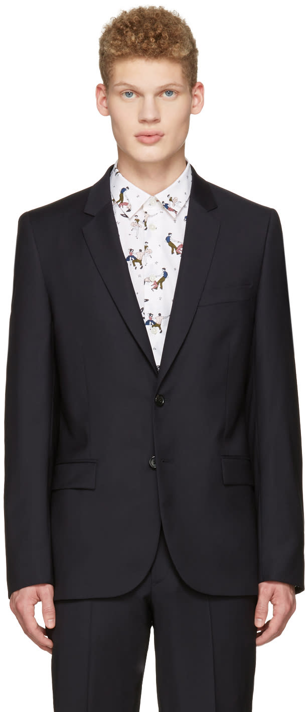 Ps By Paul Smith Navy Wool Blazer
