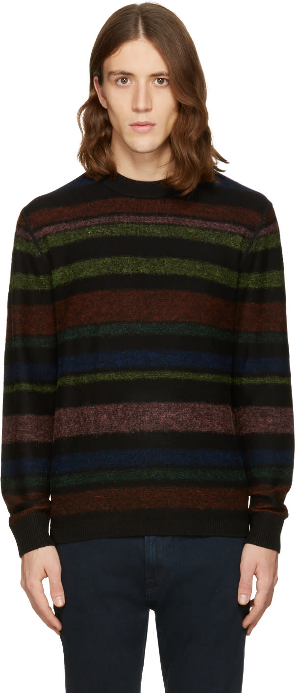 Ps By Paul Smith Black Striped Merino Pullover