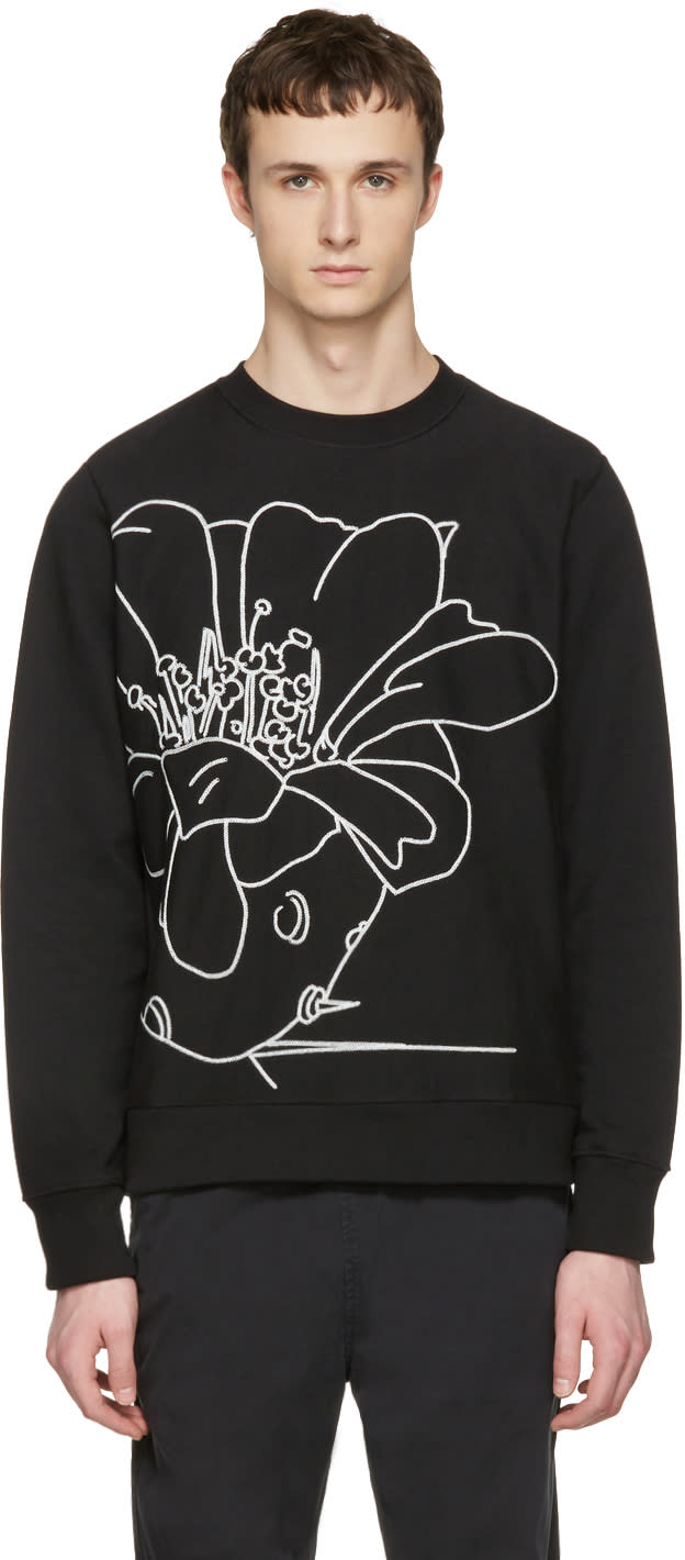 Ps By Paul Smith Black Embroidered Pullover