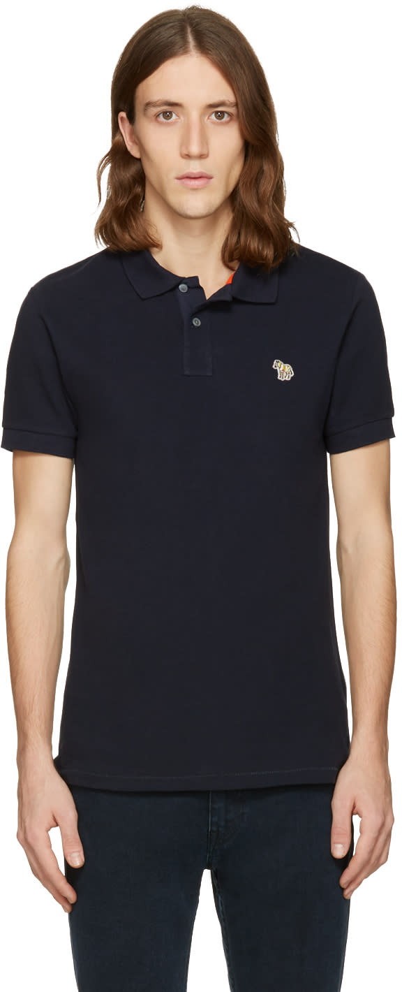 Ps By Paul Smith Navy Zebra Polo