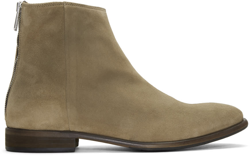 Ps By Paul Smith Taupe Suede Jean Chelsea Boots