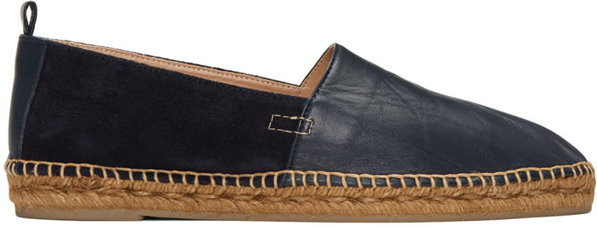 Castaner Navy Leather and Suede Pablo Espadrilles