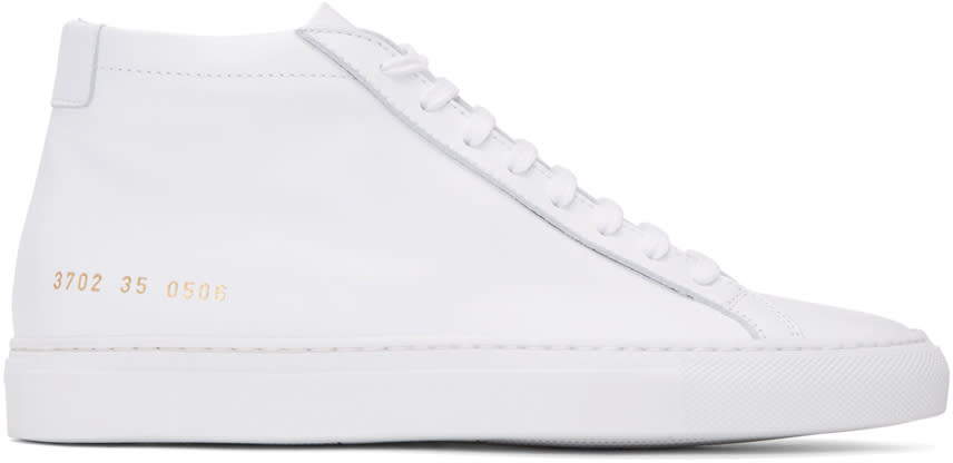 Woman By Common Projects White Original Achilles Mid Sneakers
