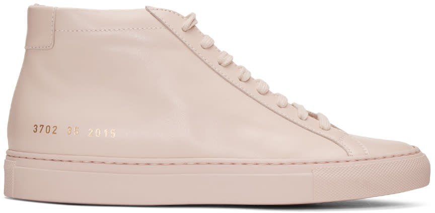 Woman By Common Projects Pink Original Achilles Mid Sneakers