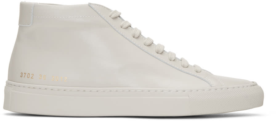 Woman By Common Projects Beige Original Achilles Mid Sneakers
