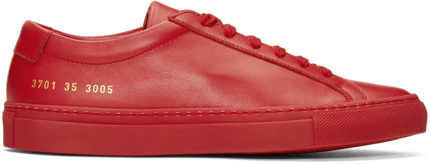 Woman By Common Projects Red Original Achilles Low Sneakers