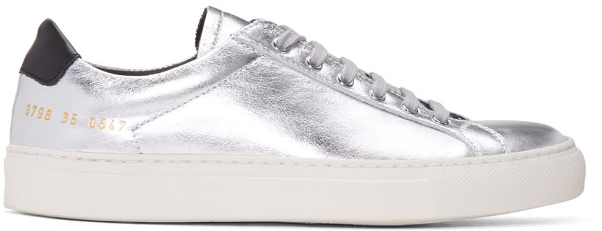 Woman By Common Projects Silver and Black Achilles Retro Low Sneakers
