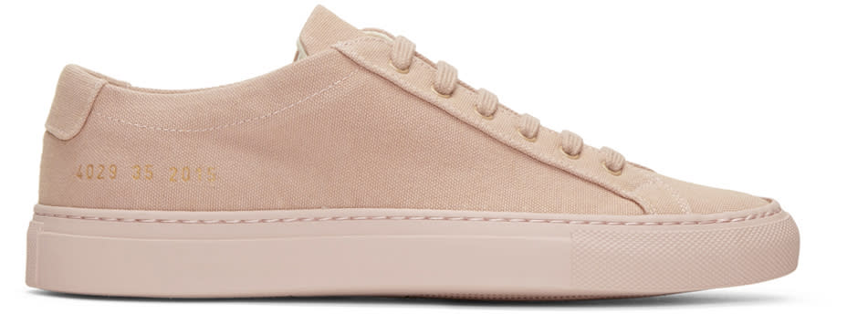 Woman By Common Projects Pink Canvas Achilles Low Sneakers