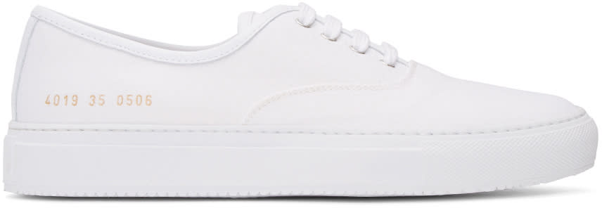Woman By Common Projects White Canvas Tournament Four Hole Sneakers