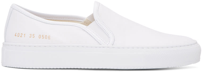 Woman By Common Projects White Canvas Tournament Slip-on Sneakers