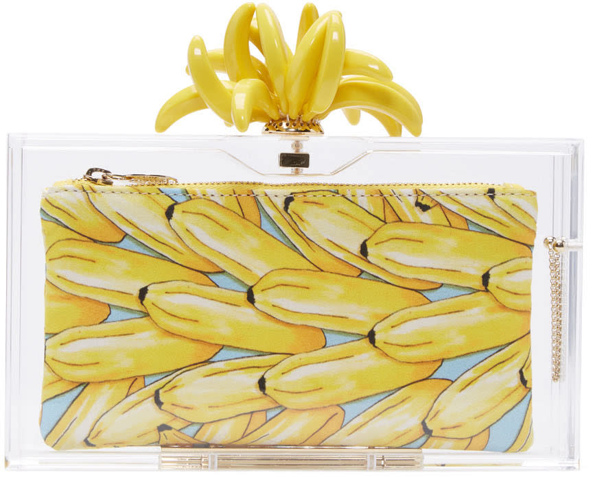 Charlotte Olympia Transparent Bananas For Pandora Clutch