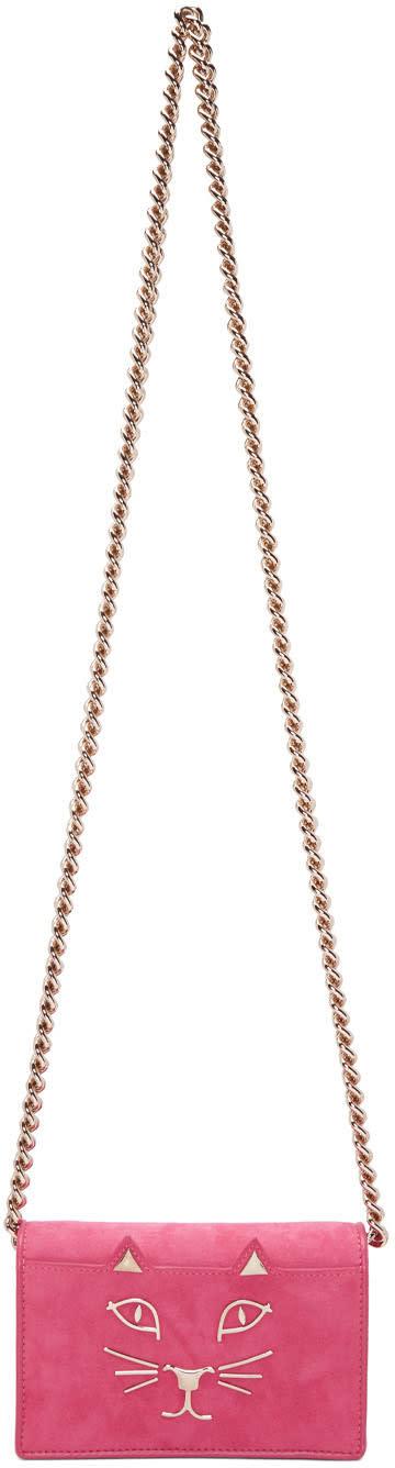 Charlotte Olympia Pink Suede Feline Bag