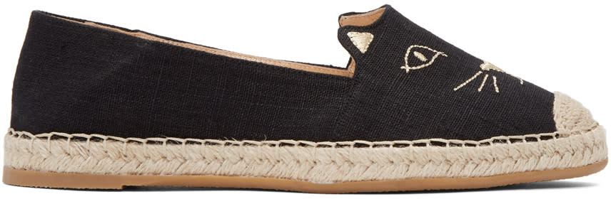 Image of Charlotte Olympia Black Kitty Espadrilles