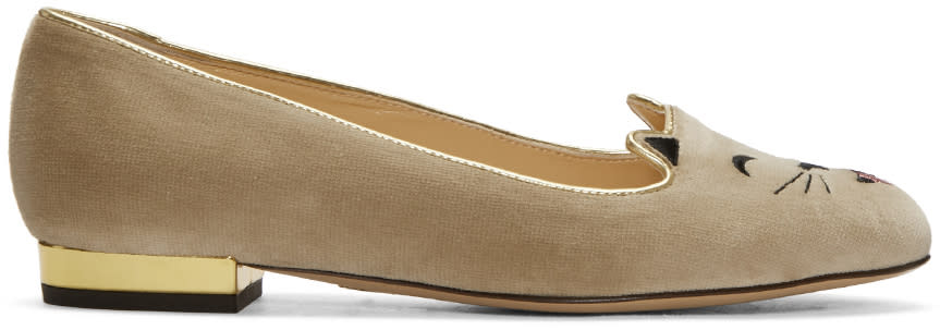 Charlotte Olympia Taupe Velvet Cheeky Kitty Flats
