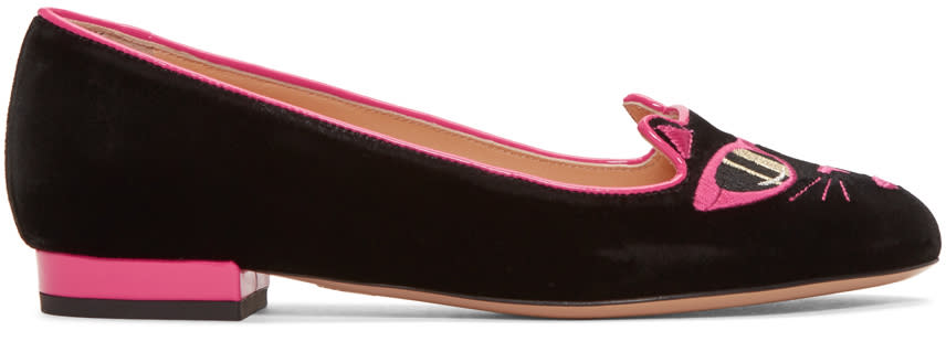 Charlotte Olympia Black Barbie Edition pretty In Pink Kitty Flats