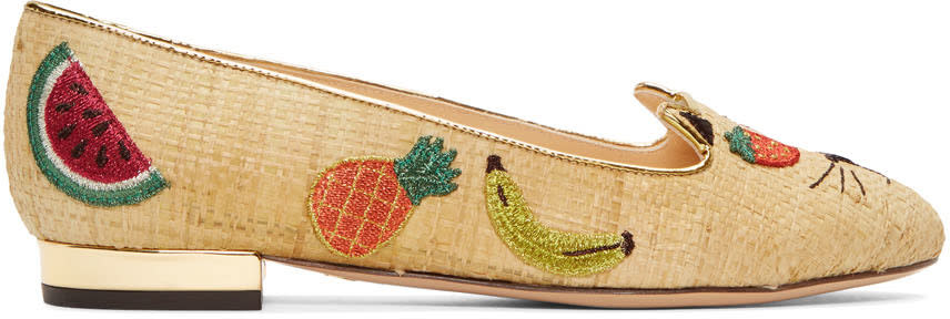 Image of Charlotte Olympia Beige Raffia Fruit Kitty Flats