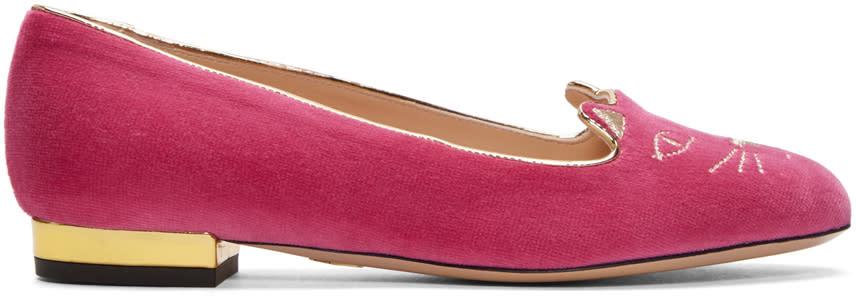Charlotte Olympia Pink Velvet Kitty Flats