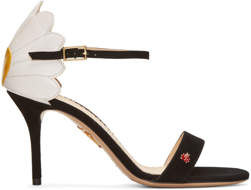 Charlotte Olympia Black Suede Marge Sandals